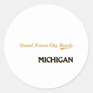 Grand Haven City Beach Michigan Classic Classic Round Sticker