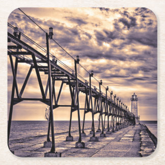 Grand Haven lighthouse and pier, Grand Haven Square Paper Coaster