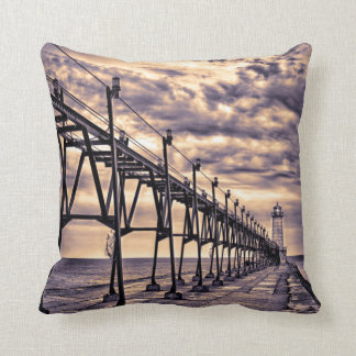 Grand Haven lighthouse and pier, Grand Haven Throw Pillow