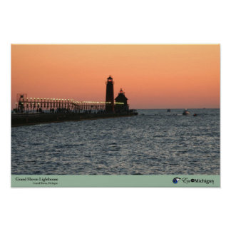 Grand Haven Lighthouse at Sunset Poster