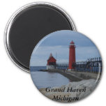 Grand Haven Lighthouses 2 Inch Round Magnet