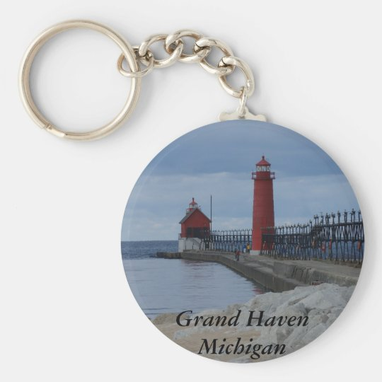 Grand Haven Lighthouses Keychain