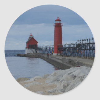Grand Haven Lighthouses Classic Round Sticker