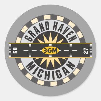 Grand Haven, MI 3GM Airport Classic Round Sticker
