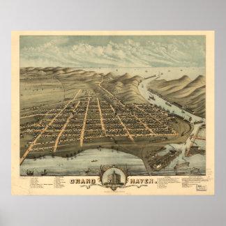 Grand Haven Michigan 1874 Antique Panoramic Map Poster