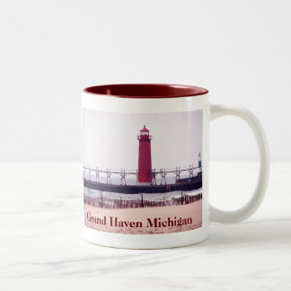 Grand Haven Michigan Lighthouse Two-Tone Coffee Mug