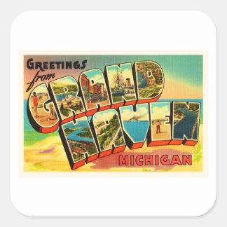 Grand Haven Michigan MI Vintage Travel Souvenir Square Sticker