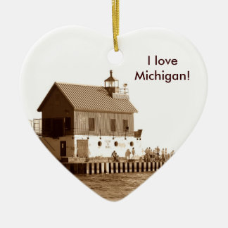 grand haven pier, I love Michigan! Double-Sided Heart Ceramic Christmas Ornament