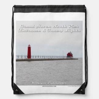 Grand Haven South Pier Lights: Drawstring Backpack