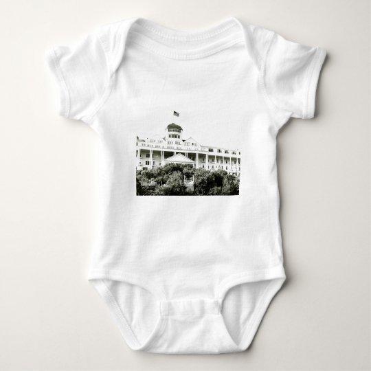 Grand Hotel, Mackinac Island, black and white Baby Bodysuit