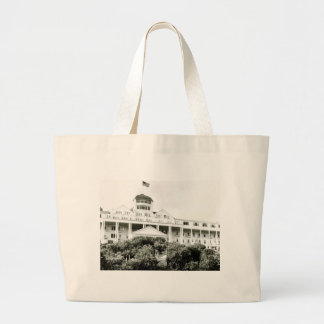 Grand Hotel, Mackinac Island, black and white Canvas Bags