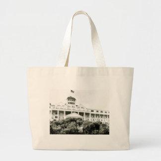Grand Hotel, Mackinac Island, black and white Large Tote Bag