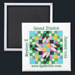 """Grand Illusion Magnet<br><div class=""""desc"""">Decorate your fridge to match your quilt.  Or use it at your sewing machine to catch pins.  :)</div>"""