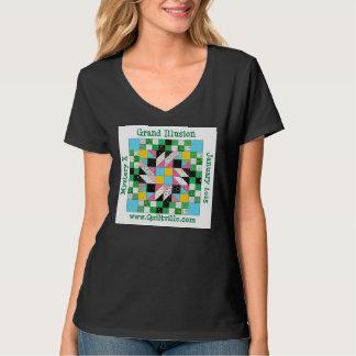Grand Illusion v-neck women's shirt, black T-shirt