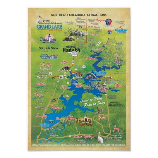 Brand new Grand Lake OK attractions map 15d Poster | Zazzle.com BQ64