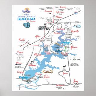 Grand Lake OK dimensional map 3 Poster