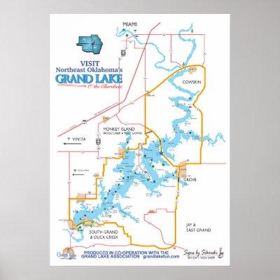 Grand Lake Ok Map 2 Poster Zazzle Com