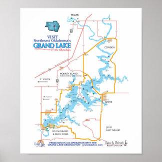 Grand Lake OK  map small Poster