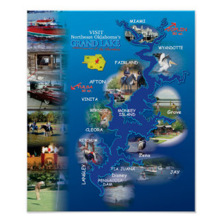 Grand Lake OK photo map 1 Poster