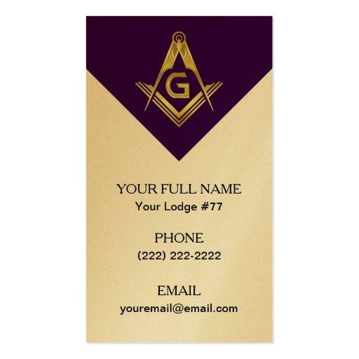 Grand Lodge Masonic Business Cards Purple & Gold