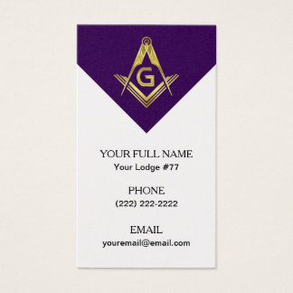 Grand Lodge Masonic Business Cards - Purple & Gold