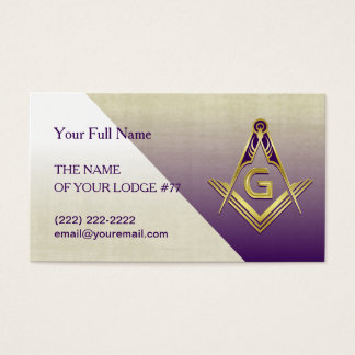 Grand Lodge Purple & Gold Masonic Business Cards
