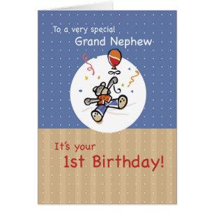 Grand nephew cards greeting photo cards zazzle grand nephew 1st teddy bear balloon birthday card bookmarktalkfo Images