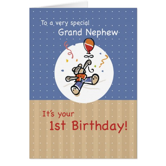 Grand Nephew 1st Teddy Bear Balloon Birthday Card