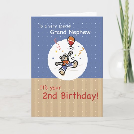 Grand Nephew 2nd Teddy Bear Balloon Birthday Card Zazzle