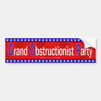 Grand Obstructionist Party Car Bumper Sticker
