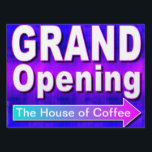 "Grand Opening Arrow Retail Business Sign<br><div class=""desc"">A simple sign like this out front can increase traffic by reminding people that you are now open for business.  Customize this sign by putting your own name in the arrow.  