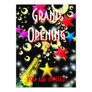 Grand Opening champagne celebration black Card