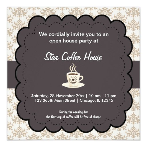 Grand Opening Coffee House 5.25x5.25 Square Paper Invitation Card