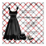 Grand Opening Fashion business (Black) 5.25x5.25 Square Paper Invitation Card