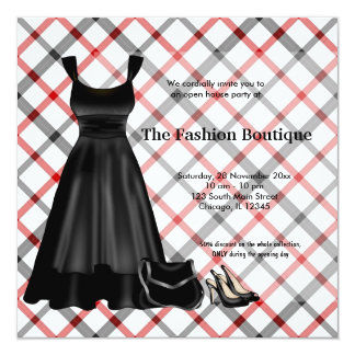 "Grand Opening Fashion business (Black) 5.25"" Square Invitation Card"