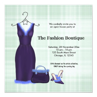 "Grand Opening Fashion business 5.25"" Square Invitation Card"