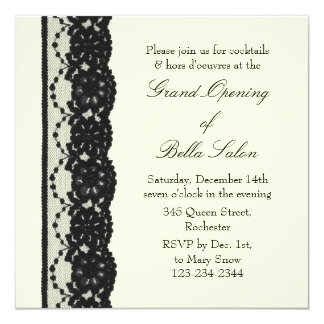 Grand Opening Ivory French Lace Invitation