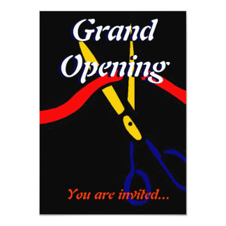Grand Opening Launch party ribbon cutting 4.5x6.25 Paper Invitation Card