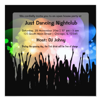 Grand Opening NightClub 5.25x5.25 Square Paper Invitation Card