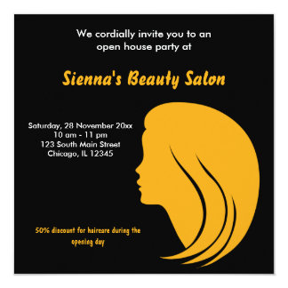 """Grand Opening Salon (Gold) 5.25"""" Square Invitation Card"""