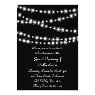 Grand Opening Twinkle Lights (black) 5x7 Paper Invitation Card