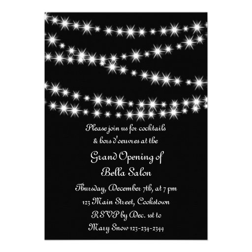 Grand Opening Twinkle Lights (black) Personalized Invitations