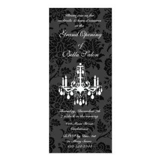 Grand Opening Victorian Damask (black) 4x9.25 Paper Invitation Card