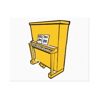 grand orange upright piano with music.png canvas print