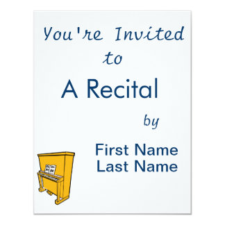 grand orange upright piano with music.png 4.25x5.5 paper invitation card