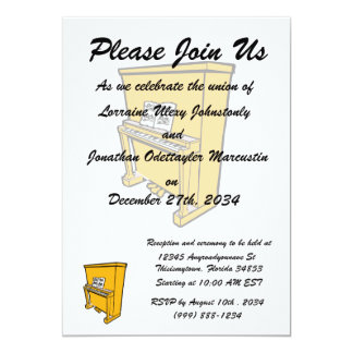 grand orange upright piano with music.png 5x7 paper invitation card