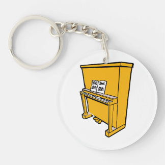 grand orange upright piano with music.png keychain