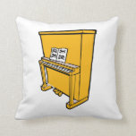 grand orange upright piano with music.png throw pillow
