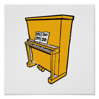 grand orange upright piano with music.png poster