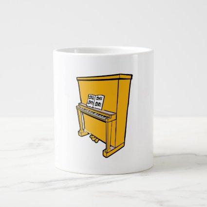 grand orange upright piano with music.png extra large mug